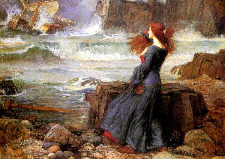 Pintura Miranda, La tempestad. de Waterhouse