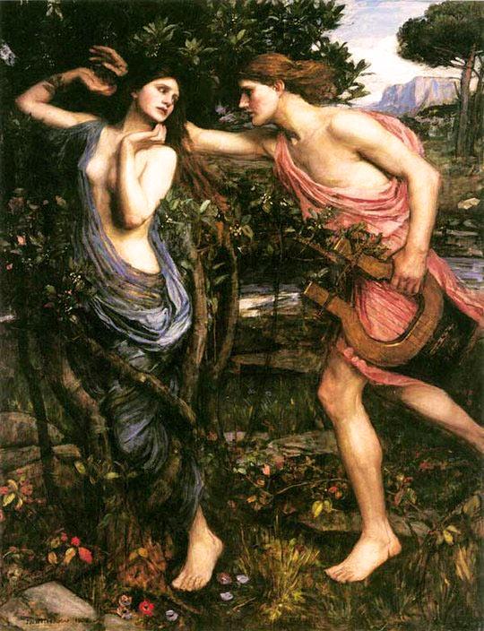 Pintura Apollo y Daphne de Waterhouse