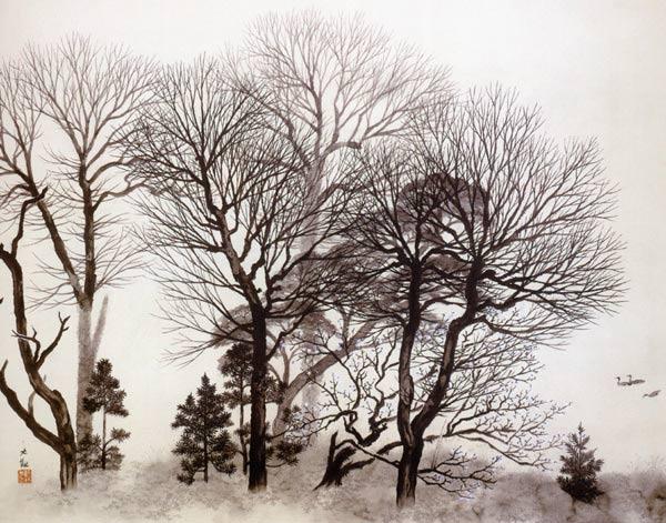 Yokoyama Taikan, Paisaje con árboles